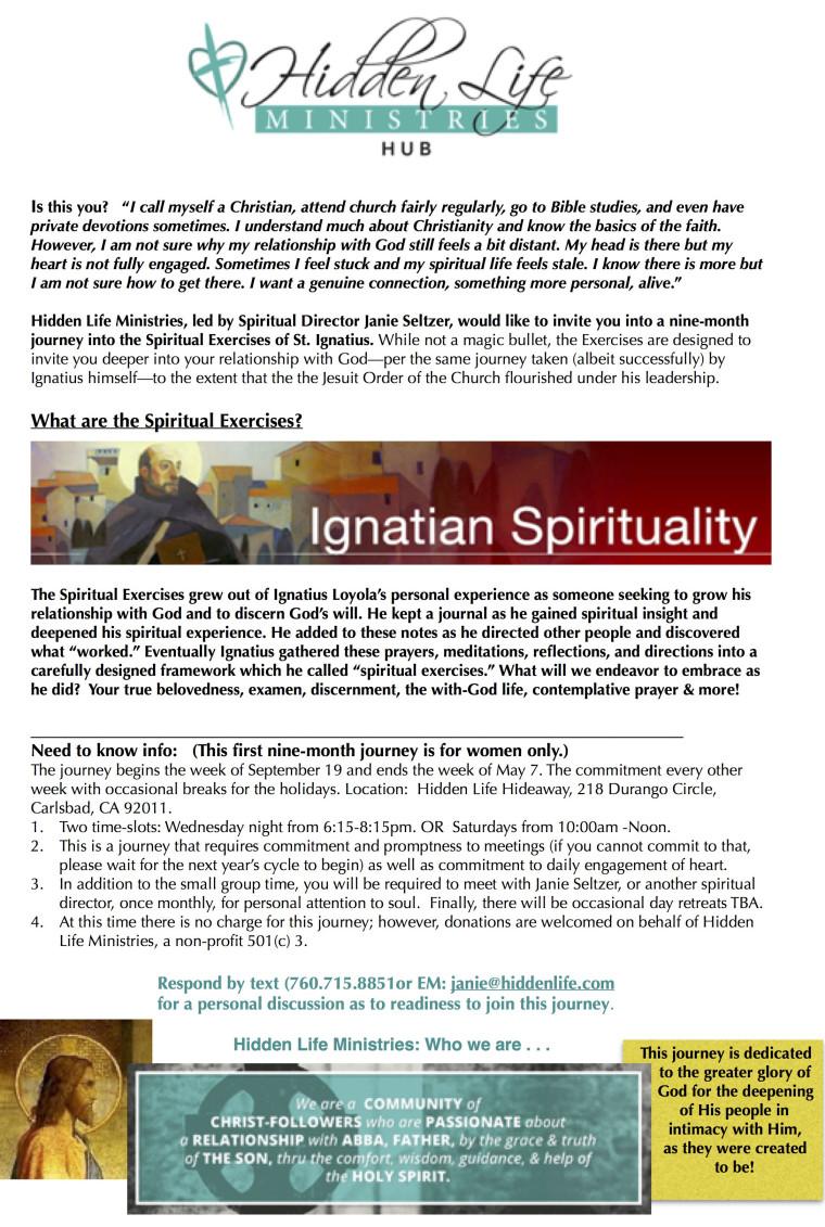 Spiritual Exercises, HLM, flyer, onePage